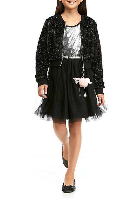 Girls 7-16 Sequin Party Dress and Bomber Jacket