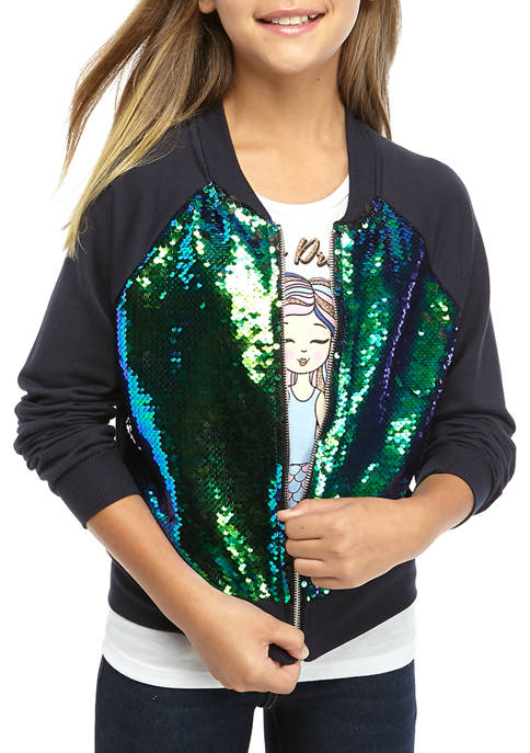 Beautees Girls 7-16 Sequin Bomber Jacket With T-Shirt
