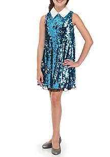 Girls 7-16 Sequin Glitter Skater Dress