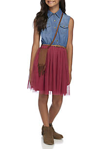 Girls 7-16 Denim to Wine Belted Sleeveless Dress