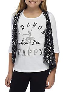 Girls 7-16 Silver Sequin Vest Dance Screen Print 2Fer Set