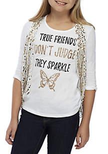 Girls 7-16 Gold Sequin Vest Friends Screen Print 2Fer Set