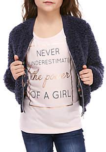 Girls 7-16 Fur Jacket 2Fer Set
