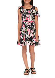 Girls 7-16 Ruffle Skater Printed Dress Set