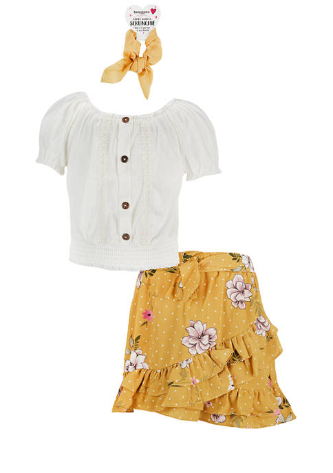 Beautees Girls 7-16 Printed Skirt 2-Piece Set