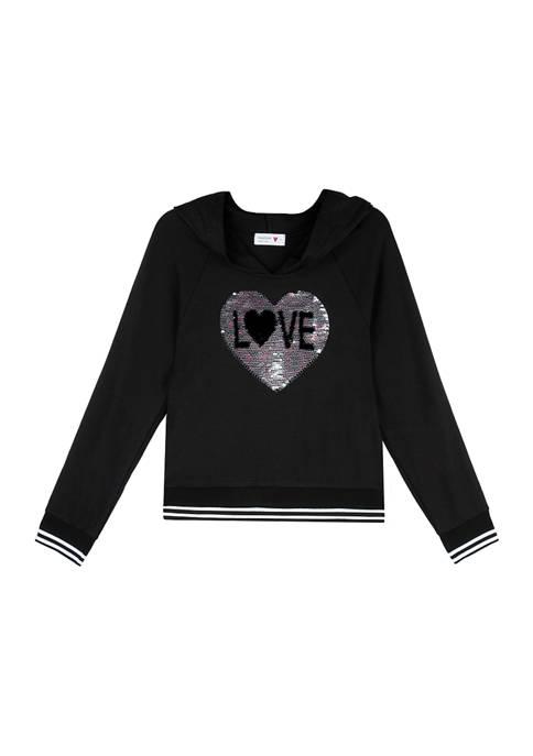 Beautees Girls 7-16 Fleece Love Graphic Hoodie