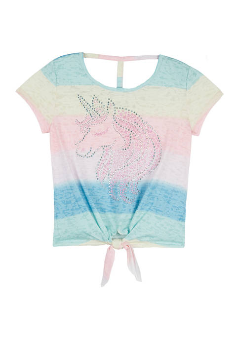 Beautees Girls 7-16 Unicorn Graphic Short Sleeve T-Shirt