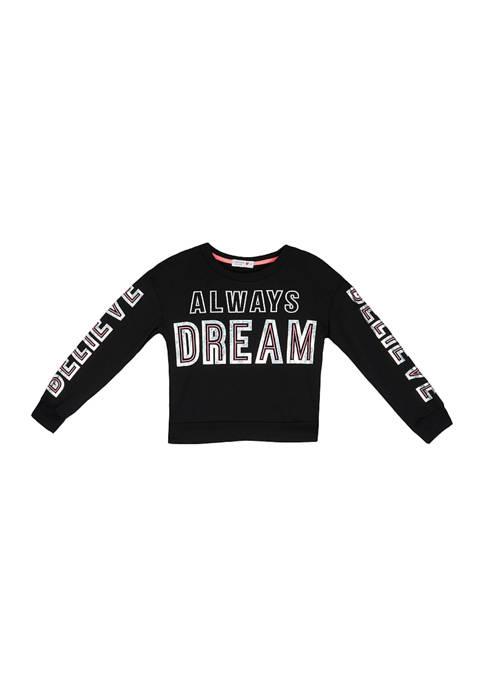 Beautees Girls 7-16 Fleece Always Dream Graphic T-Shirt