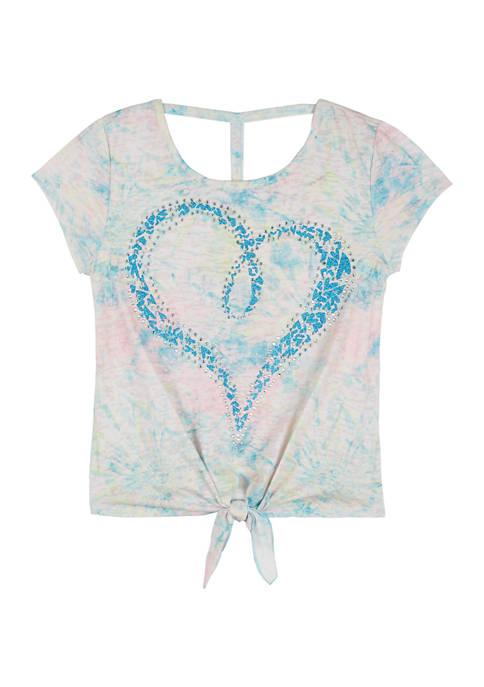 Beautees Girls 7-16 Glitter Heart Graphic Short Sleeve
