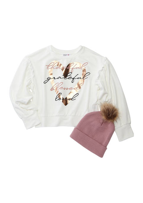 Girls 7-16 Long Sleeve French Terry Top and Beanie Set