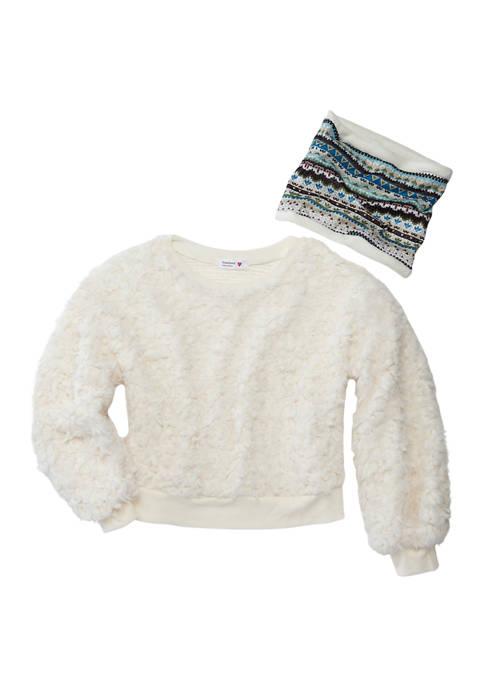 Girls 7-16 Long Sleeve Sherpa Sweatshirt and Accessory