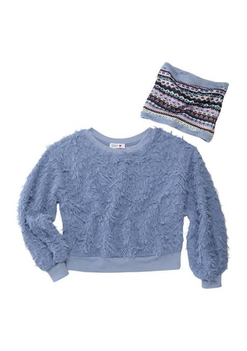 Beautees Girls 7-16 Long Sleeve Sherpa Sweatshirt and