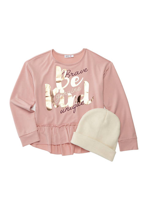 Beautees Girls 7-16 Long Sleeve French Terry Top
