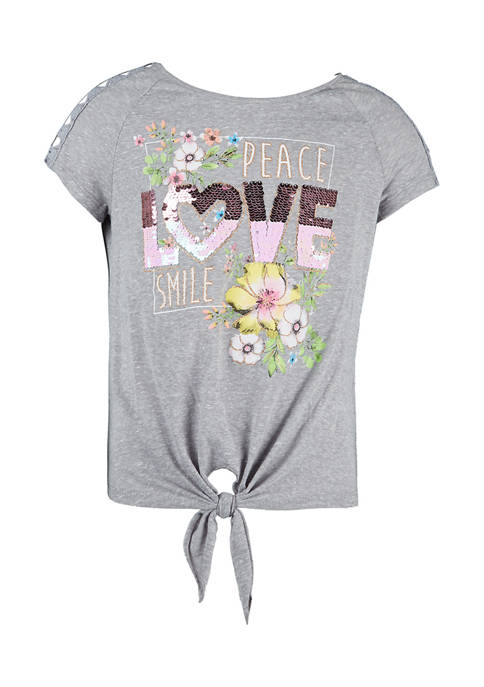 Beautees Girls 7-16 Love Graphic Short Sleeve T-Shirt