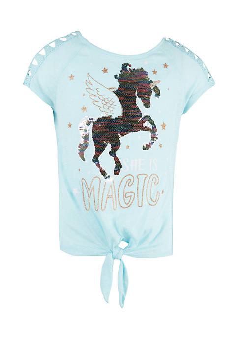 Beautees Girls 7-16 Sequin Unicorn Graphic T-Shirt
