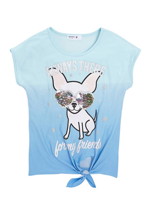 Beautees Girls 7-16 Short Sleeve Sequin Puppy T-Shirt