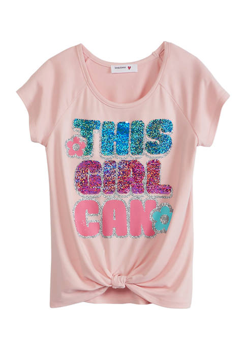 Beautees Girls 7-16 Short Sleeve Knot Front Sequin