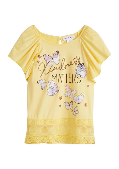 Beautees Girls 7-16 Flutter Sleeve Kindness Matters Lace