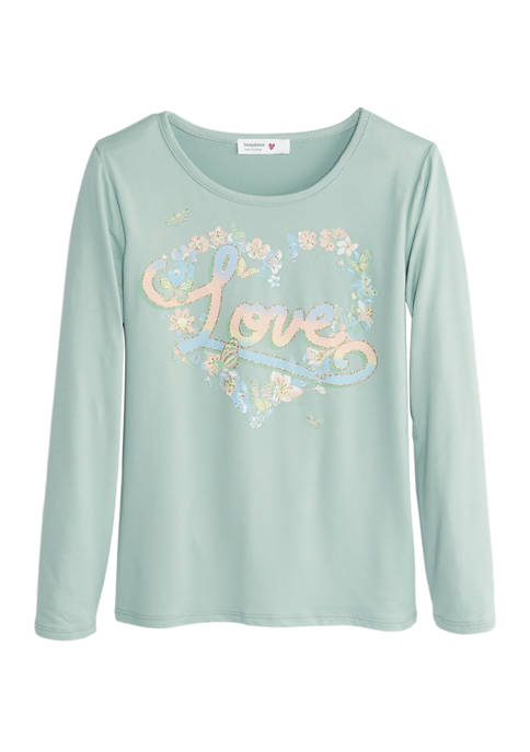 Beautees Girls 7-16 Love Heart Floral Graphic Top
