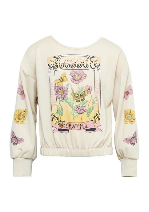 Girls 7-16 Grateful Flowers and Butterflies Long Sleeve Top