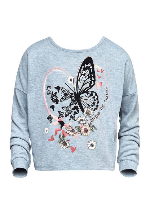 Beautees Girls 7-16 Butterfly Long Sleeve Graphic Sweatshirt