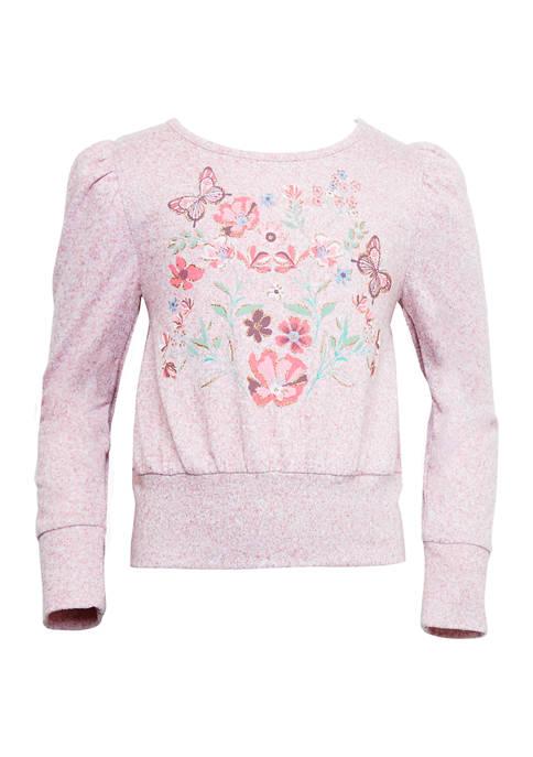 Girls 7-16 Butterflies and Flower Long Puff Sleeve Top