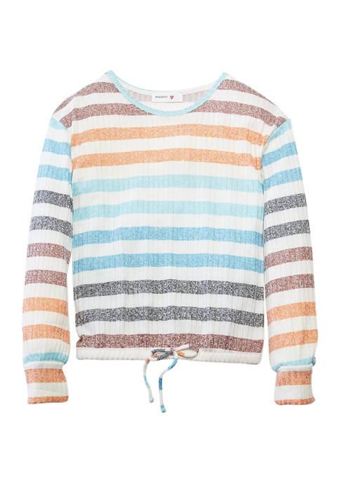 Beautees Girls 7-16 Long Sleeve Rainbow Stripe T-Shirt