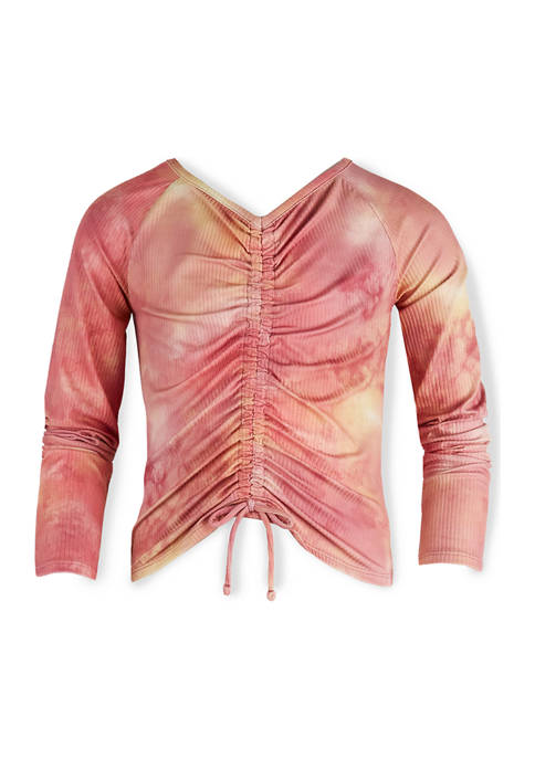 Beautees Girls 7-16 Long Sleeve Ruched Tie Dye
