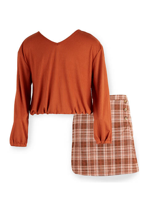 Girls 7-16 Corded Top with Plaid Skirt Set