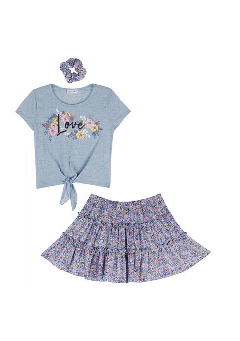 Beautees Girls 7-16 2 Piece Love Graphic Top