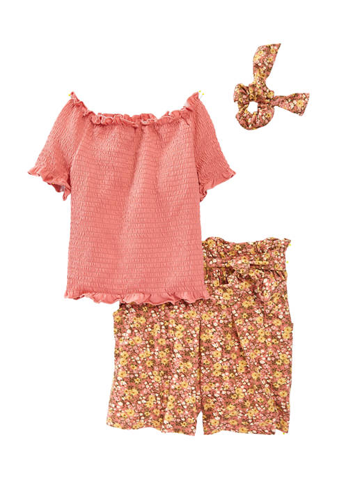 Beautees Girls 7-16 Smocked Pucker Top with Shorts