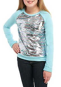 Girls 7-16 Long Sleeve Aqua Allover Sequin Top