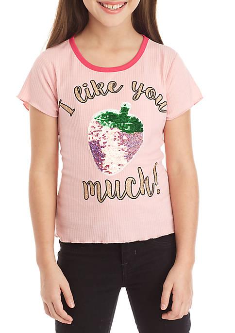 Girls 7-16 Short Sleeve Rib Knit Strawberry Sequin Baby Tee