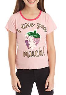 Beautees Girls 7-16 Short Sleeve Rib Knit Strawberry Sequin Baby Tee