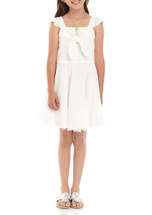 Girls 7-16 White Crepe Tie Front Dress