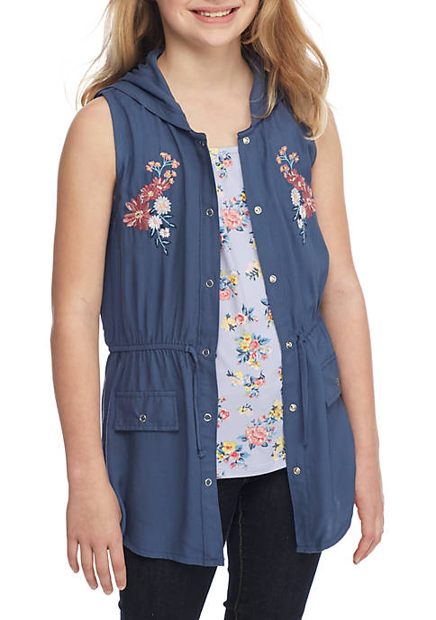 Beautees Floral Tank and Vest 2Fer Girls 7-16 for sale