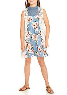 Girls 7-16 Floral Crochet Vest Dress