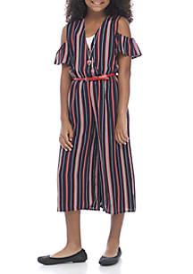 Girls 7-16 Navy Stripe Jumpsuit