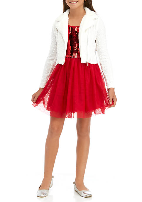 Beautees Girls 7-16 Glitter Skater Dress with Boucle