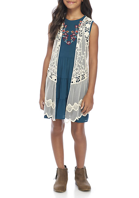 Beautees Girls 7-16 Teal Tiered Dress with Vest