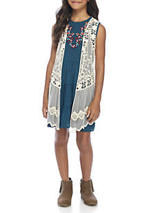 Girls 7-16 Teal Tiered Dress with Vest