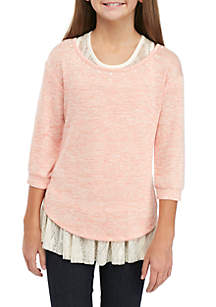 Girls 7-16 2-Piece Hacci Pearl Sweater and Tank Set