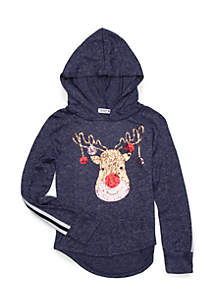 Girls 7-16 Reindeer Sequin Stripe Sleeve Hoodie