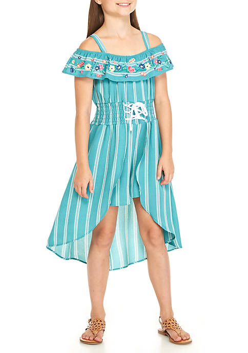 Beautees Girls 7-16 Pinstripe Walkthru Dress