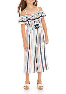 Girls 7-16 Short Sleeve Ruffle Neck Smocked Waist Embroidered Jumpsuit