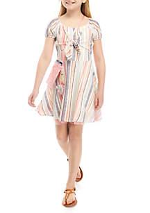 Beautees Girls 7-16 Tie Front Multi Stripe Skater Dress