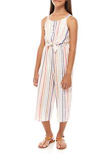 Beautees Girls 7-16 Multi Stripe Tie Front Jumpsuit