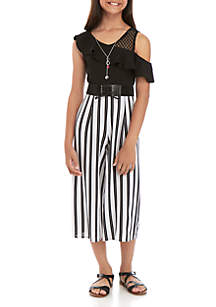 Beautees Girls 7-16 One Shoulder Black and White Jumpsuit