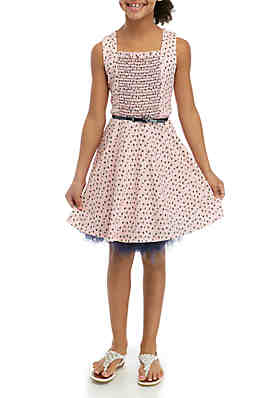 8304f7536704c Beautees Girls 7-16 Blush Floral Smocked Skater Dress ...