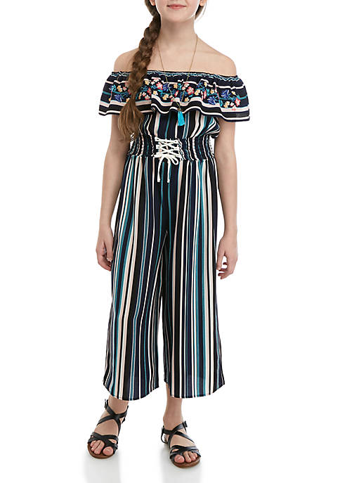 Beautees Girls 7-16 Navy Stripe Off the Shoulder